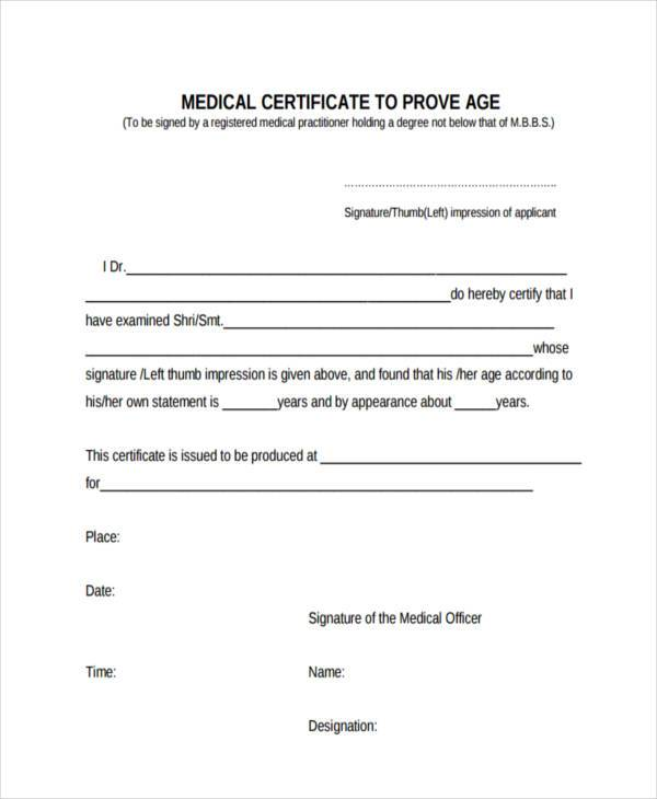 36 Certificate Forms in PDF – Medical Certificate Form
