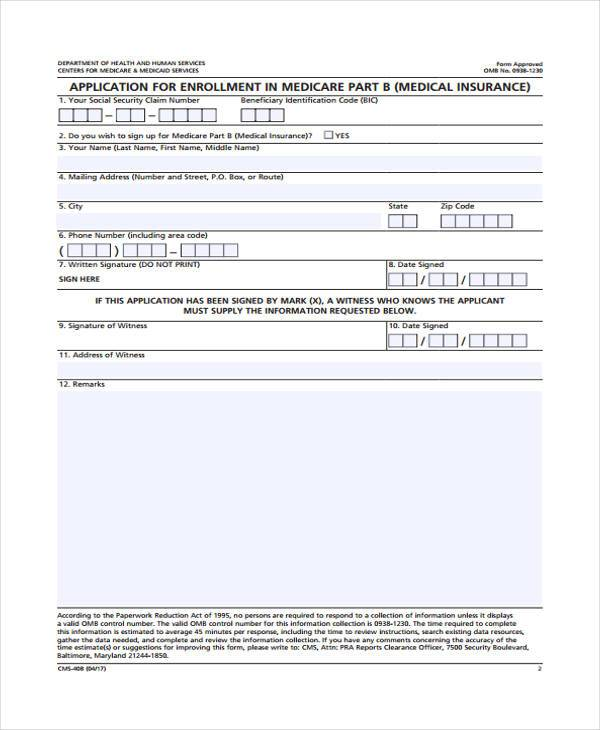 medical application enrollment form