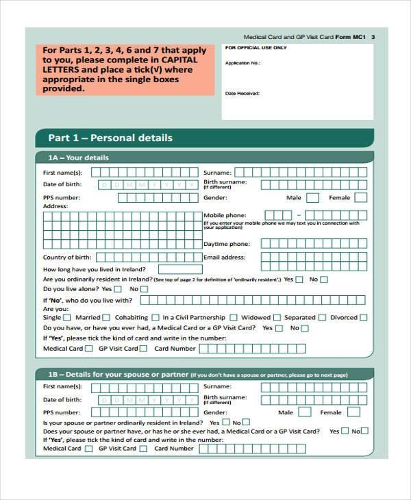 medical application enrollment form1