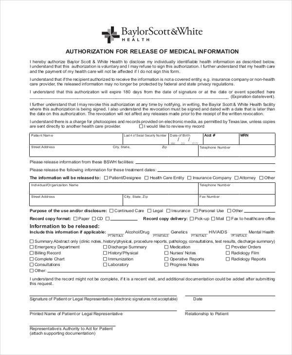medical authorisation release form