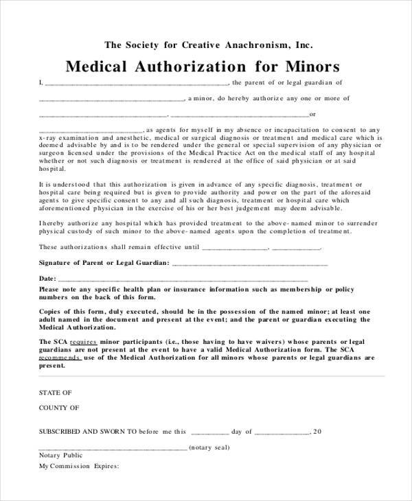 medical authorization form for minors