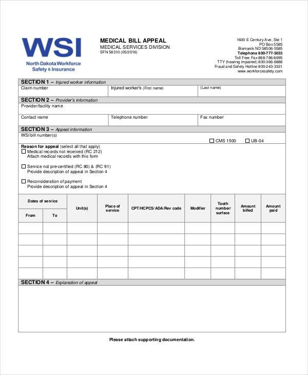 medical bill appeal form
