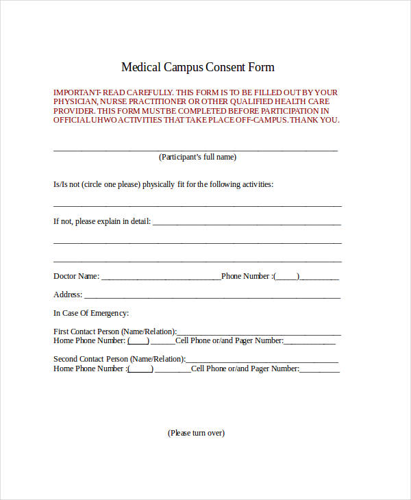 Release Of Liability Form Ca >> FREE 33+ Consent Forms in MS Word