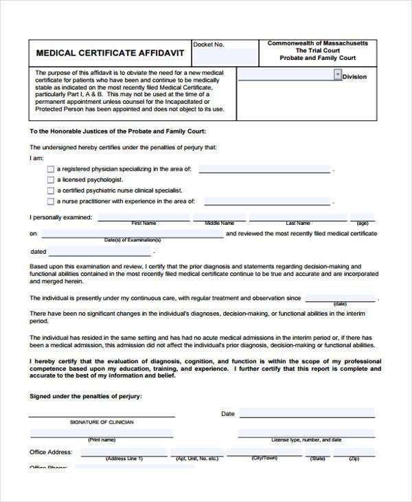 medical certificate affidavit form