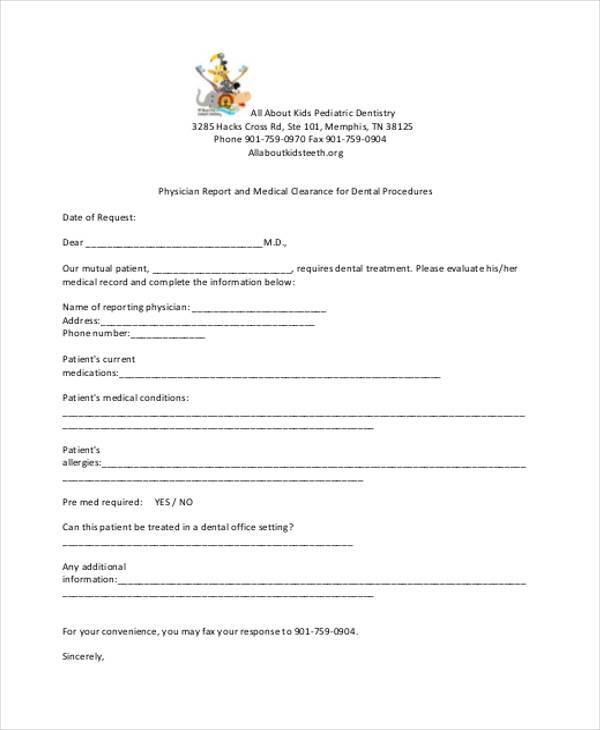 Sample medical clearance forms pronofoot35fo Images