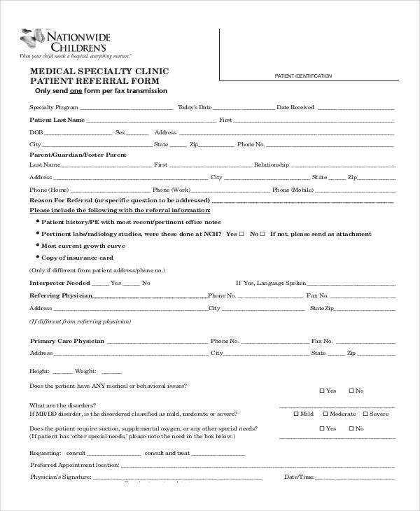medical clinic patient referral form