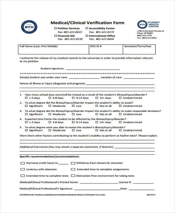 medical clinical verification form