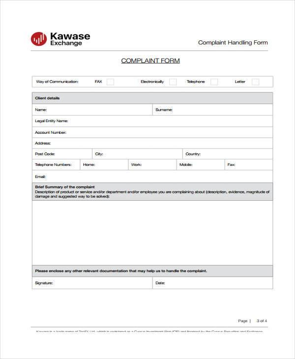 medical complaint handling form