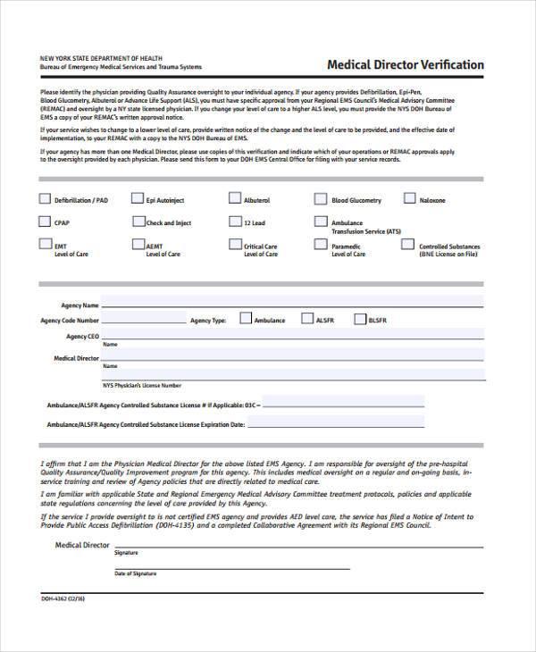 medical director verification form