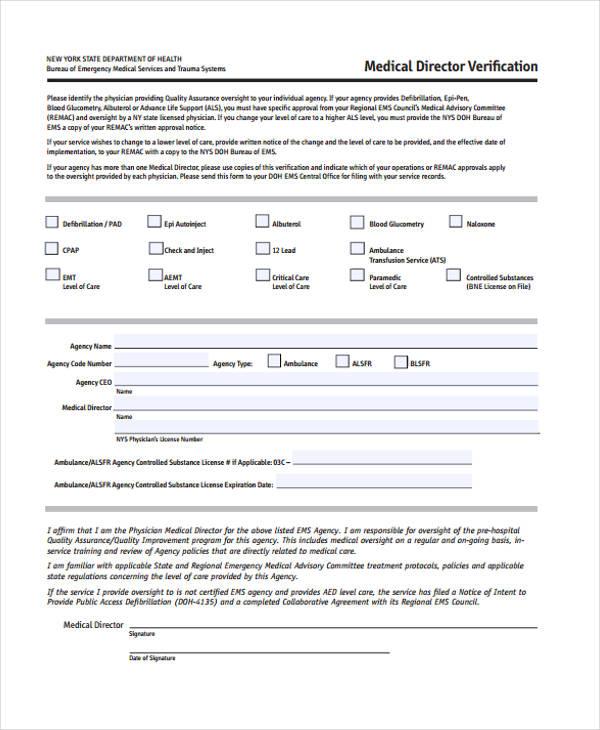 medical director verification form2