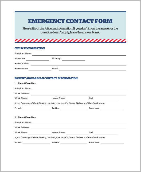 medical emergency contact release form