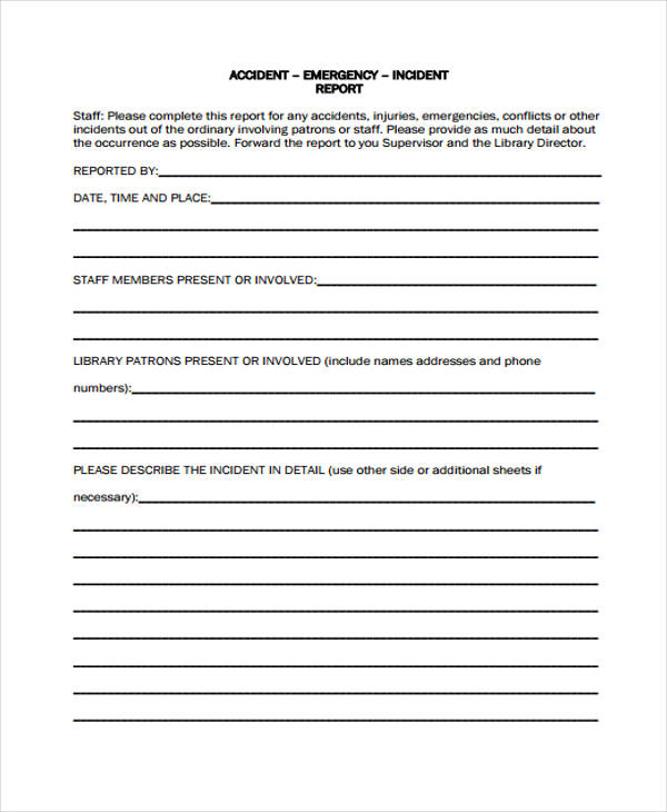 Medical Emergency Incident Report Form  Injury Incident Report Template