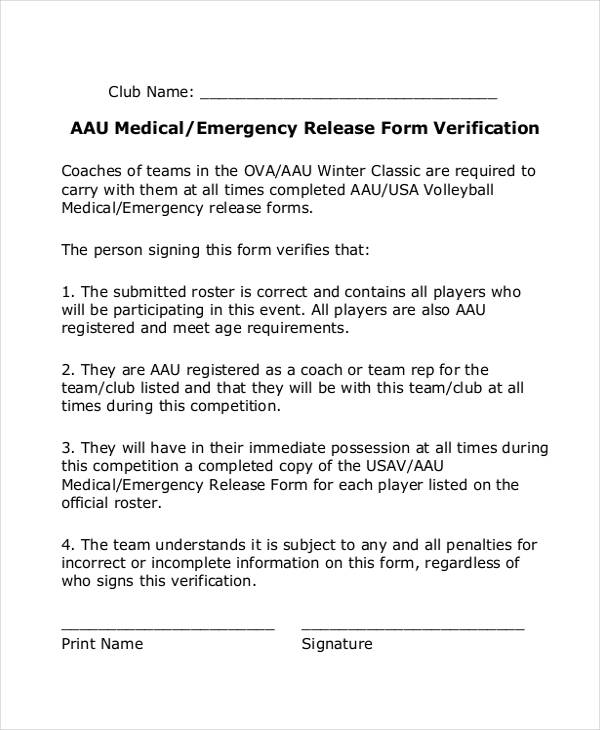 medical emergency verification release form