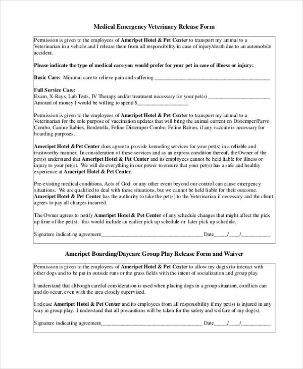 medical emergency veterinary release form
