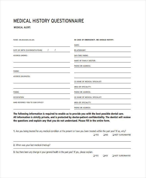 medical history questionnaire form