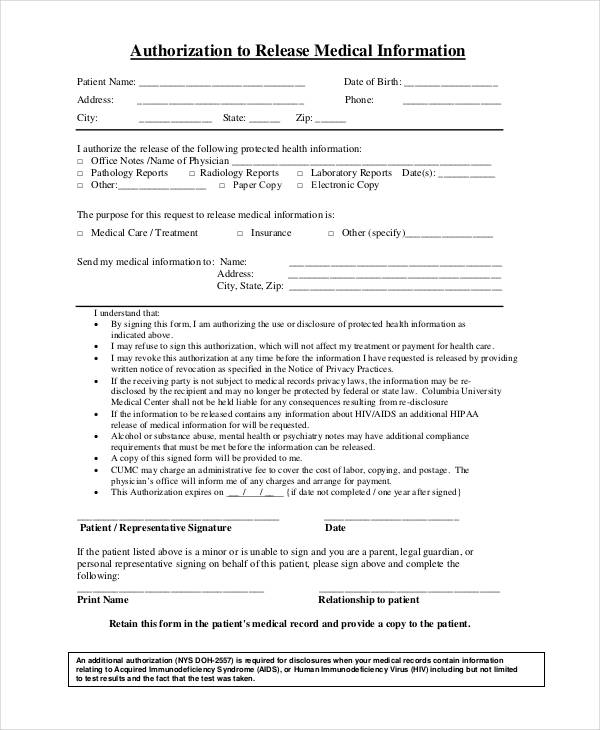 medical information authorization form