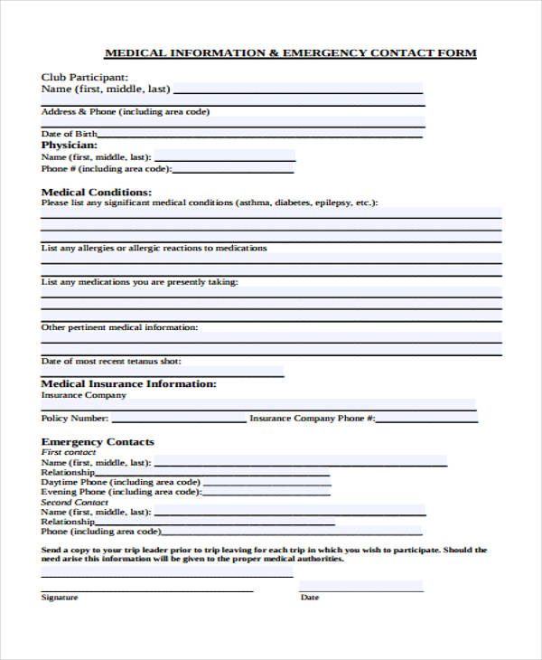 medical information emergency contact form