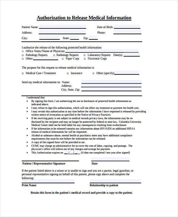 medical information release authorisation form