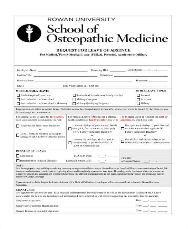 medical leave of absence form