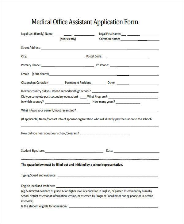 FREE 37+ Medical Forms in PDF | MS Word Job Application Form Medical Office on medical assistant job application, office assistant job application, restaurant job application, medical center job application,