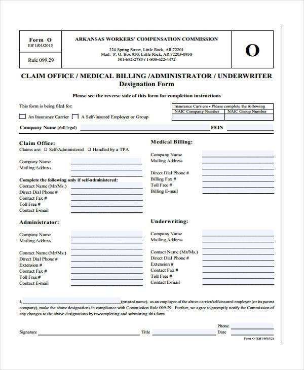 medical office billing form