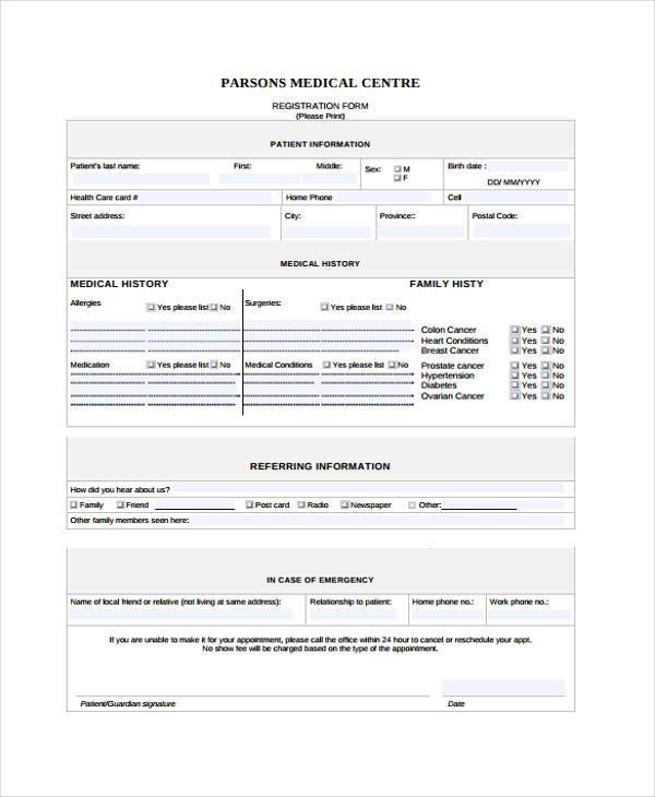 medical office registration form