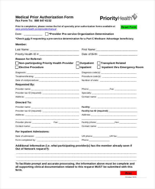 12+ Prior Authorization Form Samples - Free Samples, Examples