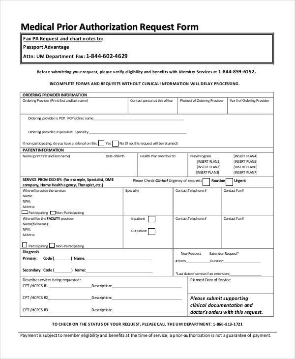 medical prior authorization request form