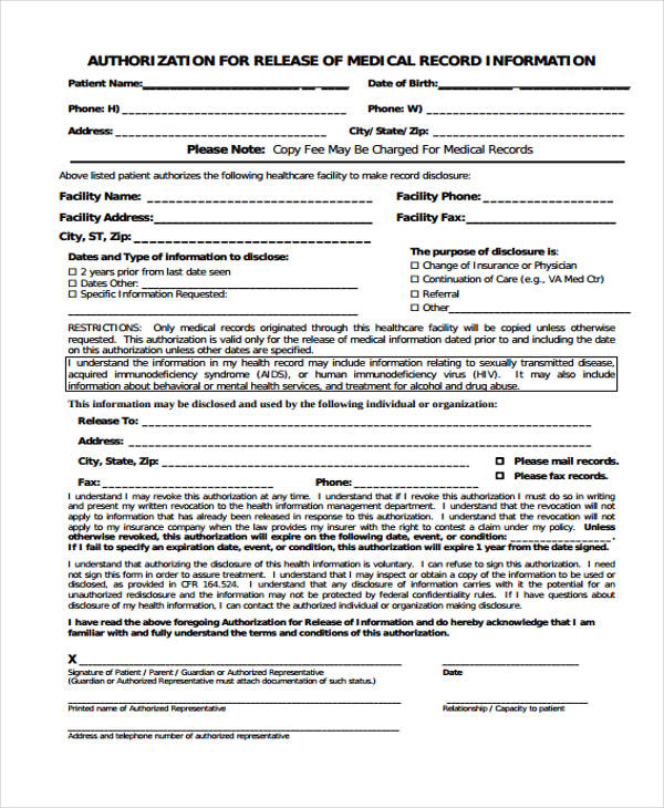 medical records authorisation release form1