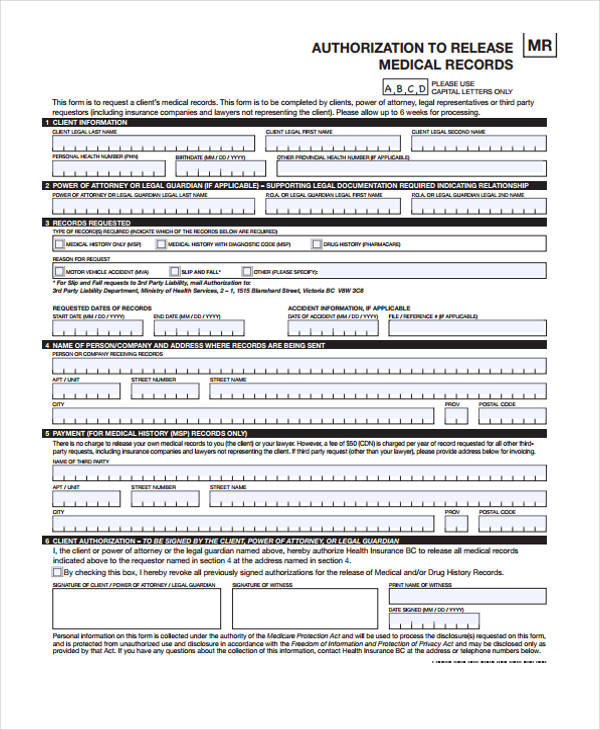 medical records release authorisation form