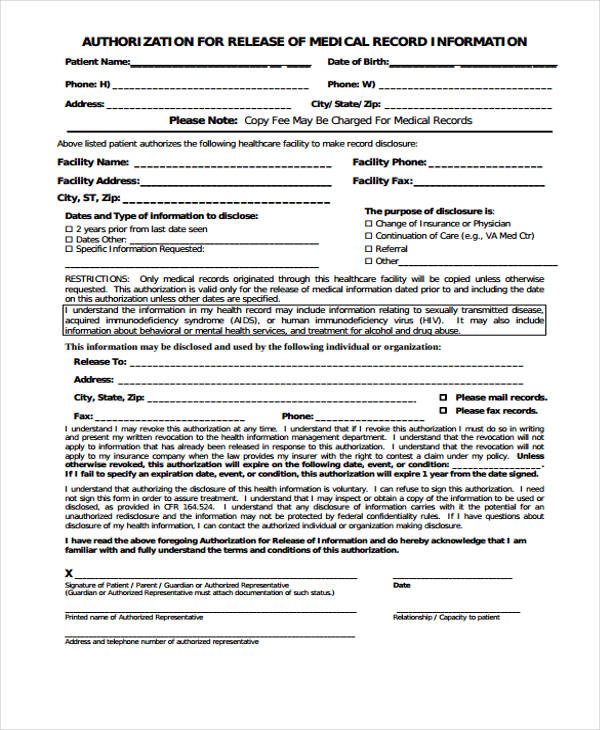 medical records release authorization form1