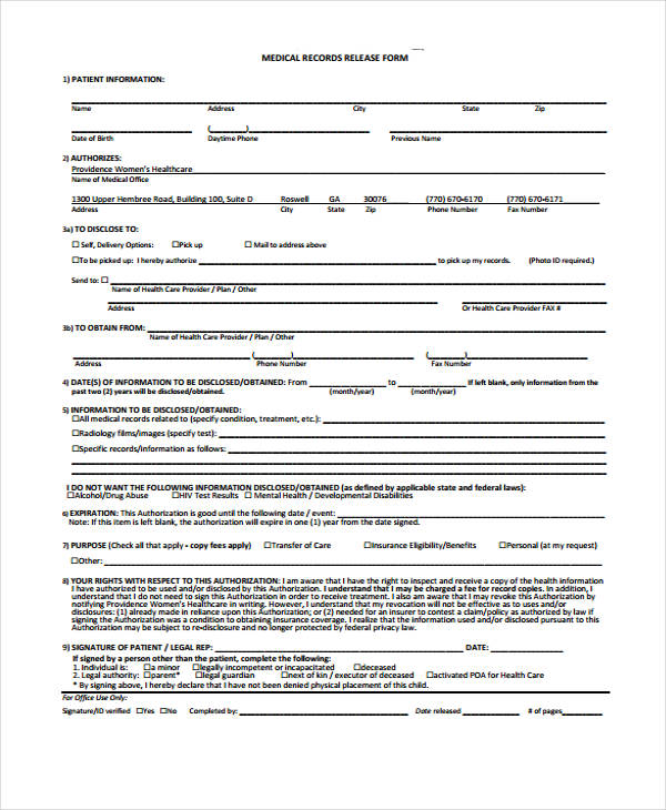 medical records release form in pdf