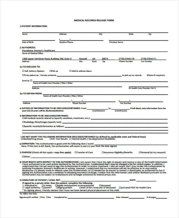 patient release form template - Sample Medical Records Release Form