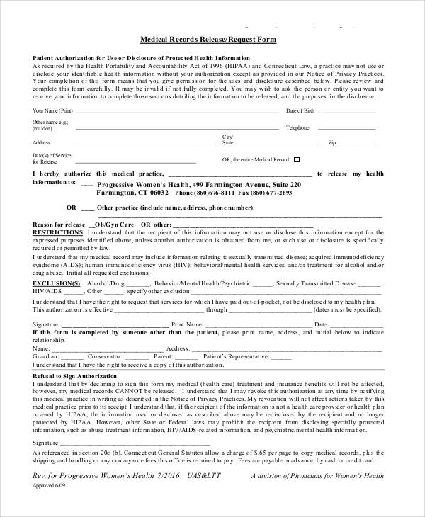 Medical Records Request Forms Records Release Request Form