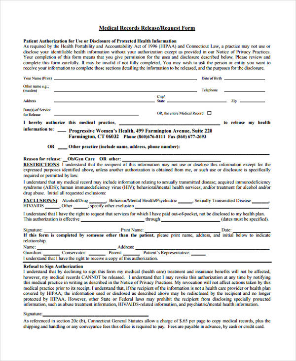 Medical Records Release Request Form4