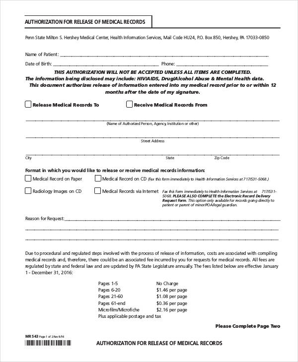 Medical Authorization Form Samples  Free Samples Examples