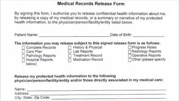 Free 25 Printable Medical Release Forms Pdf