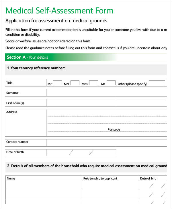 medical self assessment form