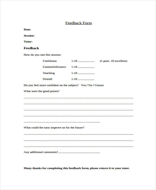 Student Feedback Forms In Pdf