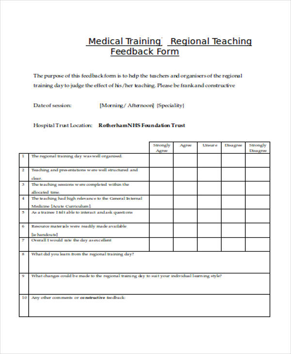 Student Feedback Form Template – Training Feedback Template