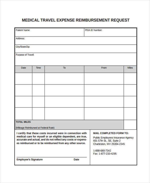 travel expense reimbursement form