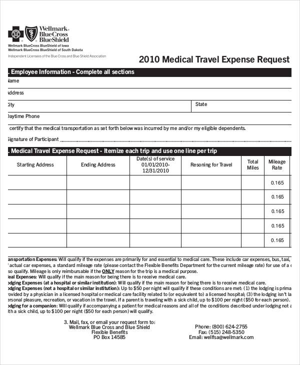 medical travel expense request form