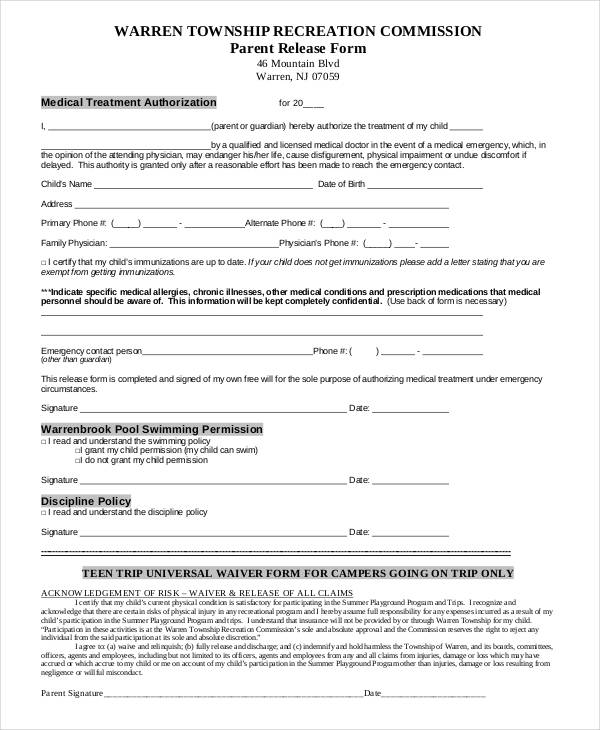 medical treatment authorization form free