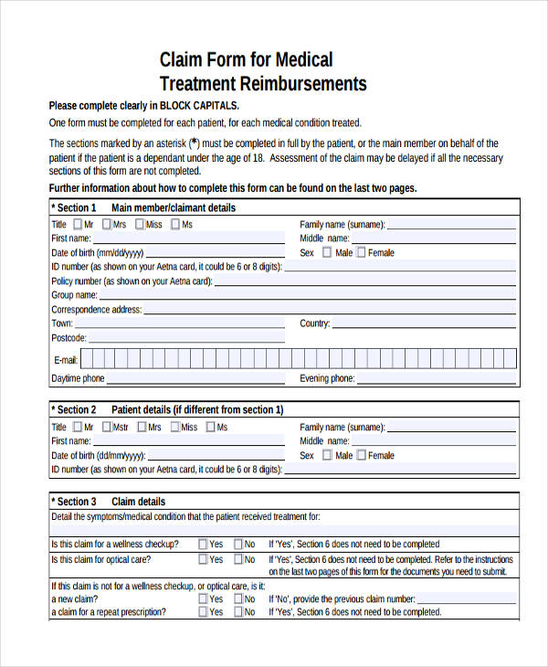 medical treatment claim form