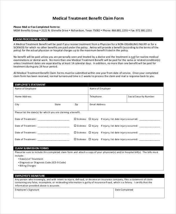 Free Claim Form