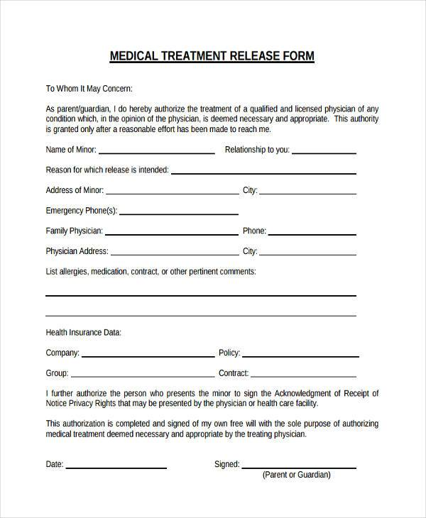 medical treatment release form