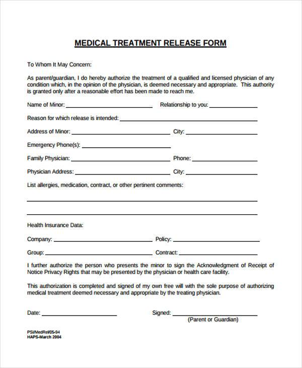 medical treatment release forms
