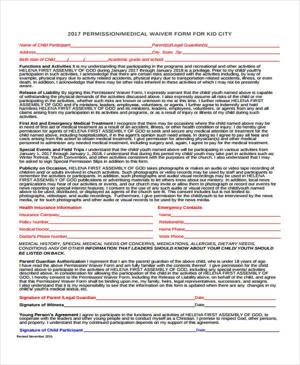 medical waiver form for kids