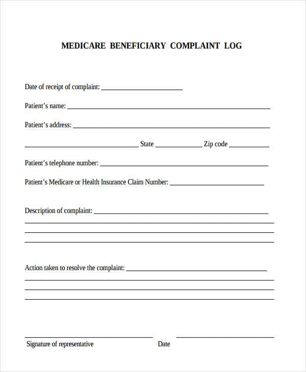 medicare beneficiary complaint form