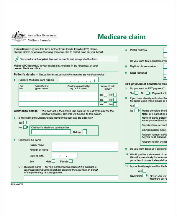 Medicare Claim Form | 36 Claim Forms In Pdf